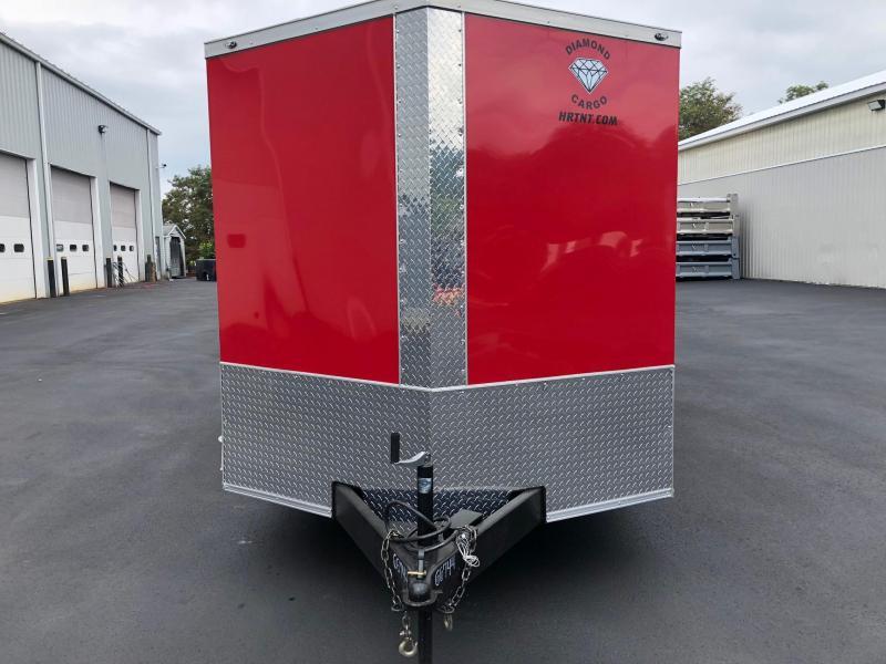 DIAMOND CARGO 2019 7' x 16' RED SEMI-SCREWLESS TANDEM AXLE V-NOSE CARGO TRAILER