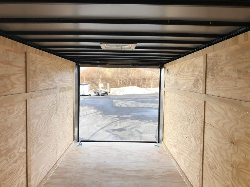 COVERED WAGON 2019 CHARCOAL 7' x 16' TANDEM AXLE V-NOSE ENCLOSED CARGO TRAILER