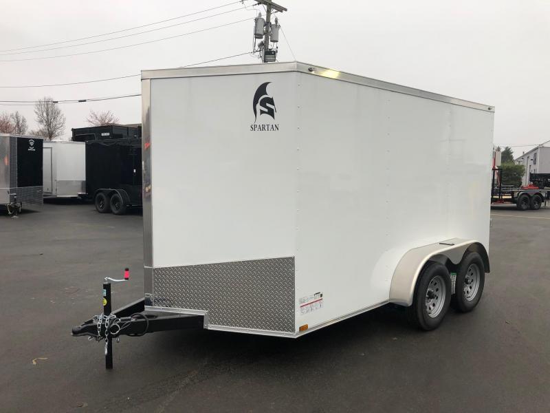 SPARTAN CARGO 2019 7X12 TANDEM AXLE WHITE SEMI SCREWLESS ENCLOSED TRAILER