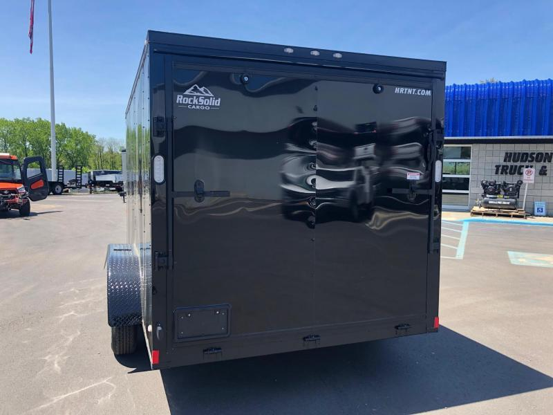 ROCK SOLID 2020 7' x 14 BLACK W/ BLKOUT SEMI-SCREWLESS TANDEM AXLE V-NOSE ENCLOSED TRAILER