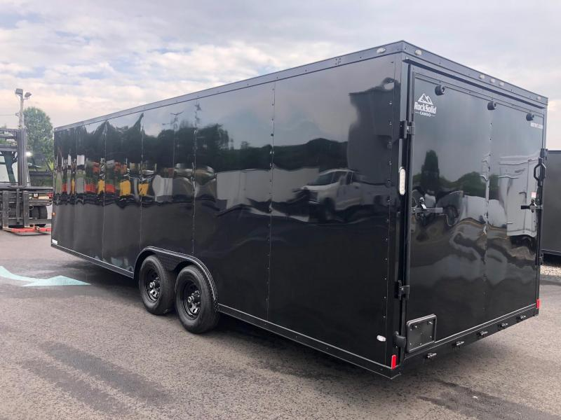 ROCK SOLID 2019 8.5' x 24' TANDEM AXLE BLACK WITH BLACKOUT  V-NOSE SEMI SCREWLESS W/ TRIPLE TUBE TONGUE AND 54 X 48 ESCAPE DOOR ENCLOSED CARGO TRAILER / CAR HAULER