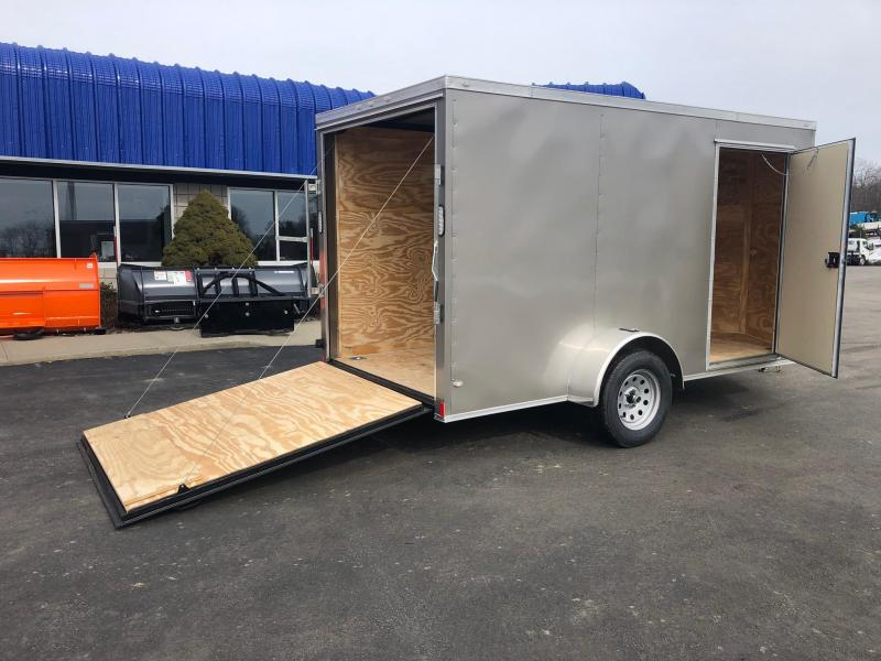 ROCK SOLID 2019 6' x 12' PEWTER SINGLE AXLE V-NOSE SEMI SCREWLESS ENCLOSED TRAILER