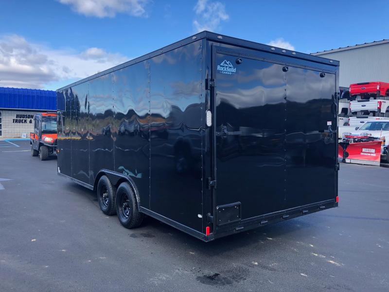 ROCK SOLID 2019 8.5' x 20' TANDEM AXLE BLACK W/ BLACK OUT PACKAGE V-NOSE CARGO TRAILER WITH TRIPLE TUBE TONGUE CAR HAULER