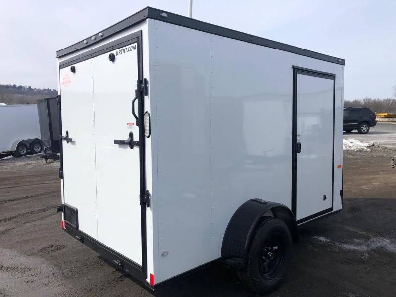 ROCK SOLID 2019 6' x 10' SINGLE AXLE SEMI-SCREWLESS WHITE WITH BLACKOUT PACKAGE  ENCLOSED TRAILER