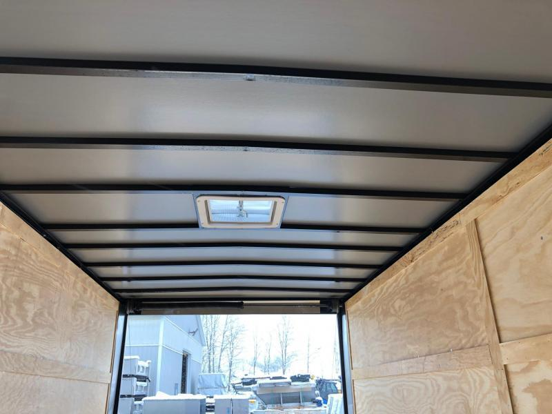 ROCK SOLID 2019 7' x 16' WHITE TANDEM AXLE V-NOSE ENCLOSED TRAILER