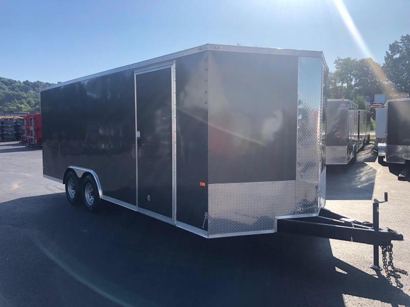 ROCK SOLID 2020 8.5' x 20' TANDEM AXLE CHARCOAL SEMI-SCREWLESS V-NOSE CARGO TRAILER WITH TRIPLE TUBE TONGUE EXTENDED AND ACCESS DOOR CAR HAULER / ENCLOSED TRAILER