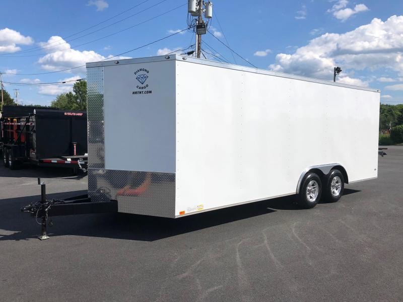 DIAMOND CARGO 2018 8.5' x 20' WHITE SEMI-SCREWLESS EXTENDED TONGUE V-NOSE TRAILER w/ALUM WHEELS