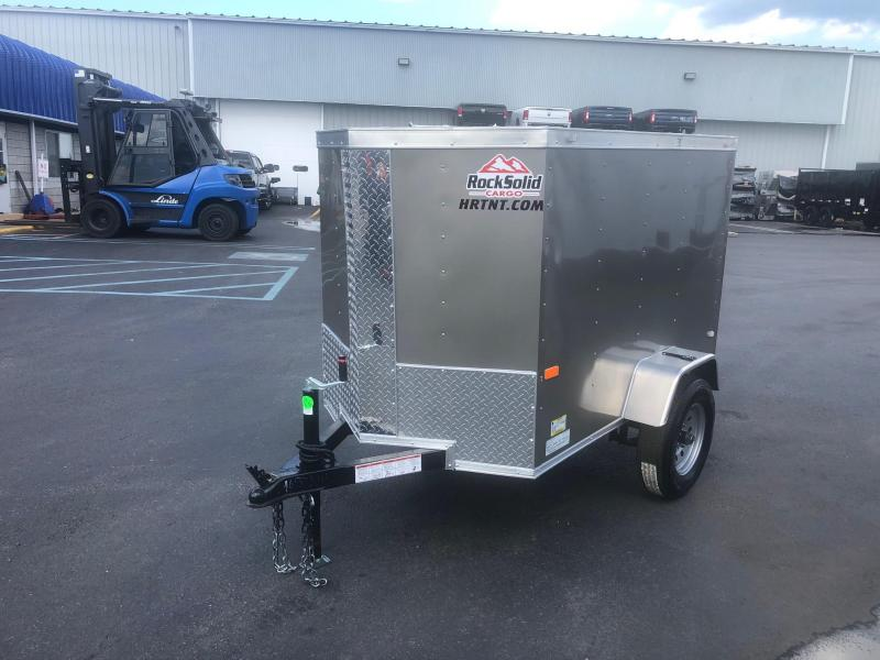 ROCK SOLID 2020 4' x 6' SINGLE AXLE PEWTER  ENCLOSED TRAILER