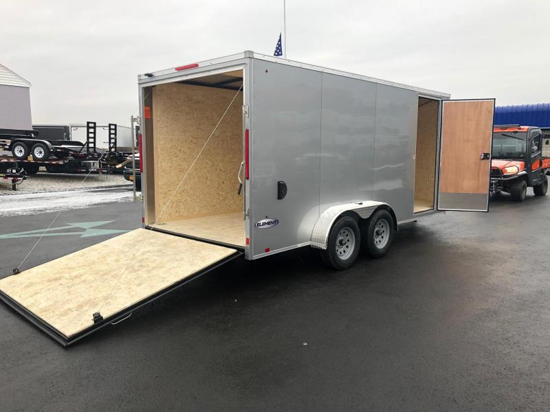 LOOK 2019 7 X 16 TANDEM AXLE SILVER SCREWLESS ELEMENT SE FLAT TOP V-NOSE CARGO / ENCLOSED TRAILER