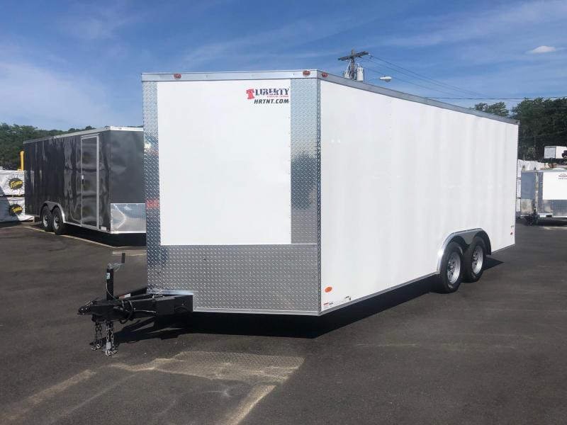 FREEDOM 2020 8.5 X 18 TANDEM AXLE WHITE CARGO/ENCLOSED TRAILER
