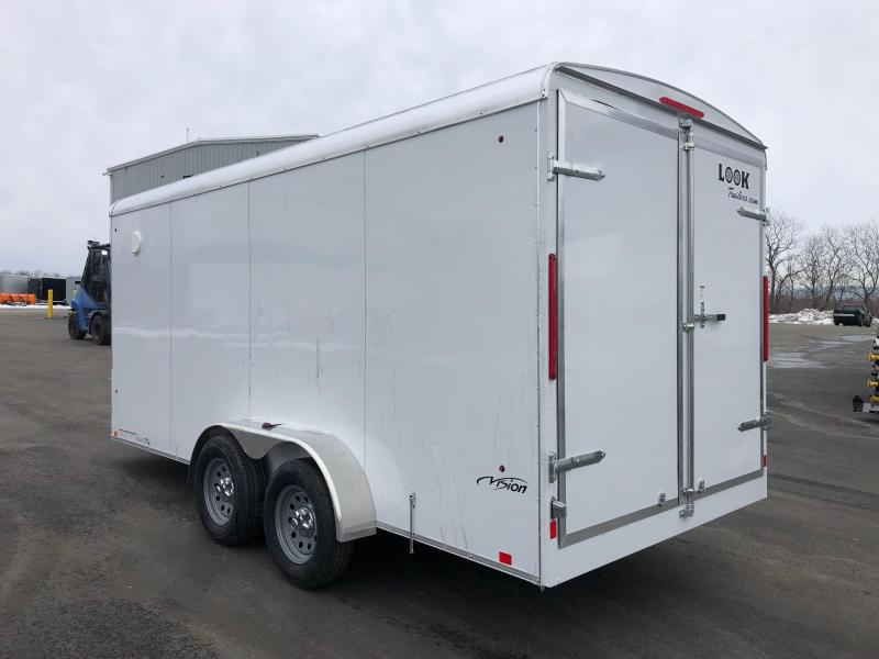 2019 Look Trailers 7X16 Tandem Axle White Screwless Vision Round Top Extra Height Cargo / Enclosed Trailer