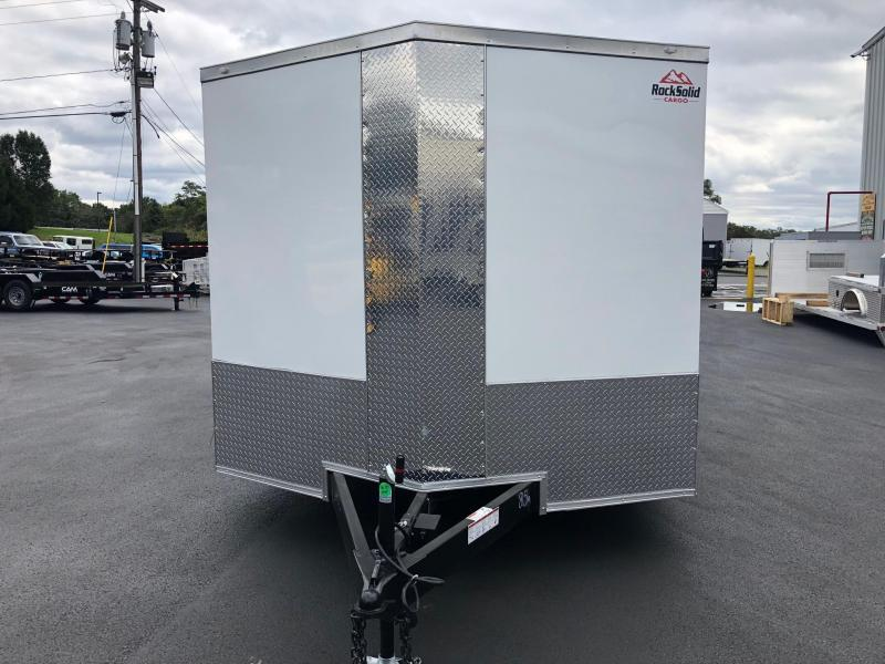 ROCK SOLID 2019 8.5 x 20 Tandem Axle White Semi Screwless Car Hauler Cargo / Enclosed V-NOSE Trailer w/ Triple Tube Extended Tongue and Escape Door