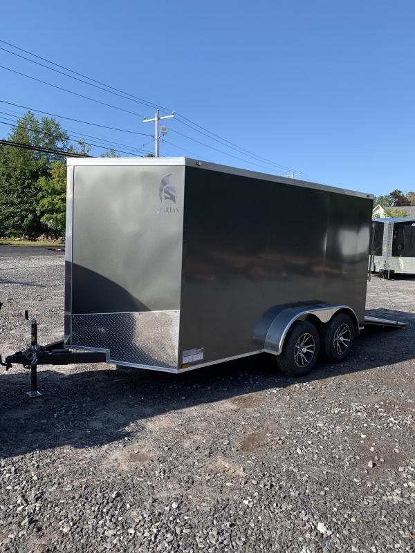 "New Spartan 7X12 +2ft V trailer ramp door/6"" extra height/alum. wheels"