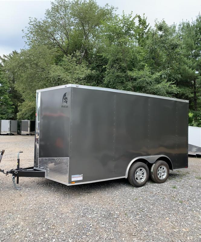 2019 Spartan 8.5x14 +2ft V trailer ramp door/alum. wheels/extra height