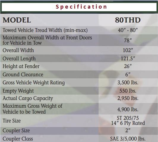 2019 Master Tow Model 80THD Tow Dolly