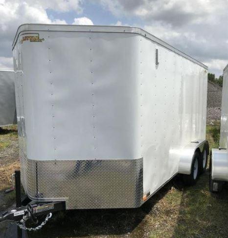 2019 Doolittle Trailer Mfg 7x14 White T/A Barn Door Enclosed Cargo Trailer
