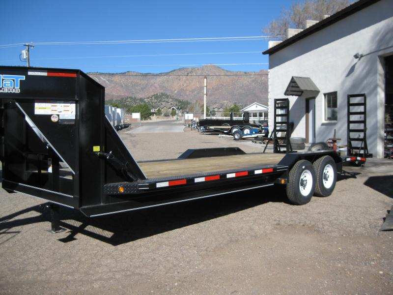 Gooseneck 102 X 22 Equipment Hauler with Drive over fenders and 5' fold-up ramps