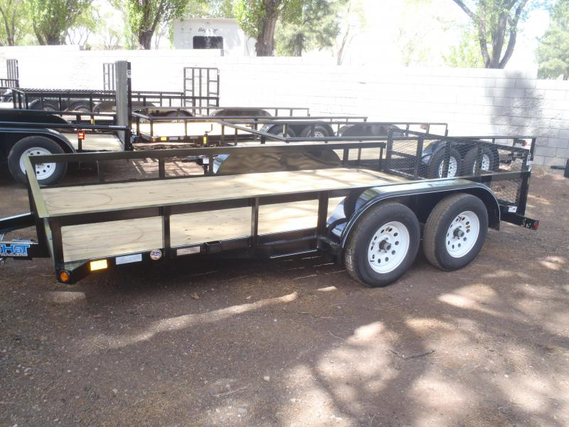 83X14 Utility Trailer with Angle Rail and 2' Ramp Gate