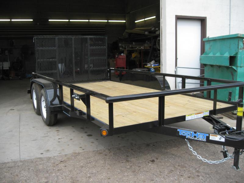 77X12 Angle top Rail Tandem Axle with Ramp Gate Utility Trailer