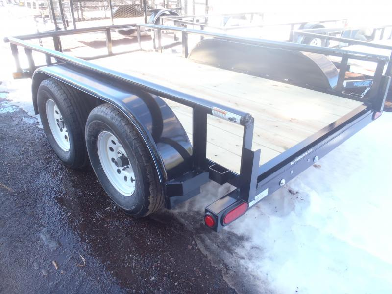 77X12 Tandem Axle Pipe Rail Utility Trailer LED lights