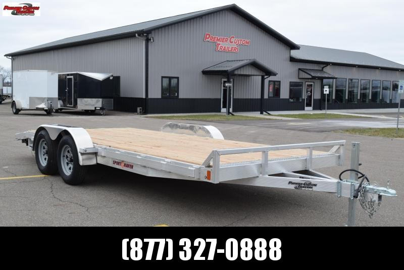 2019 SPORT HAVEN 18' ALUMINUM OPEN CAR HAULER w/ WOOD DECK