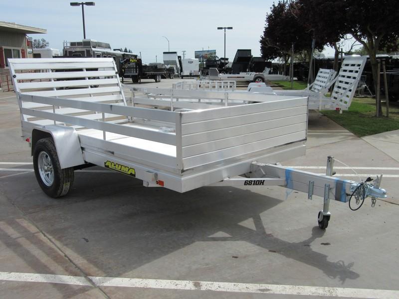 "New 2019 Aluma 6810H 68""x10' 3K GVW aluminum utility trailer"