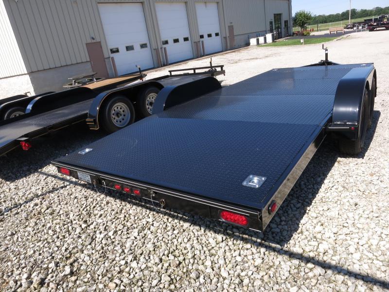Trailers - 18' Steel Floor Car Hauler w/ ramps - removable fenders