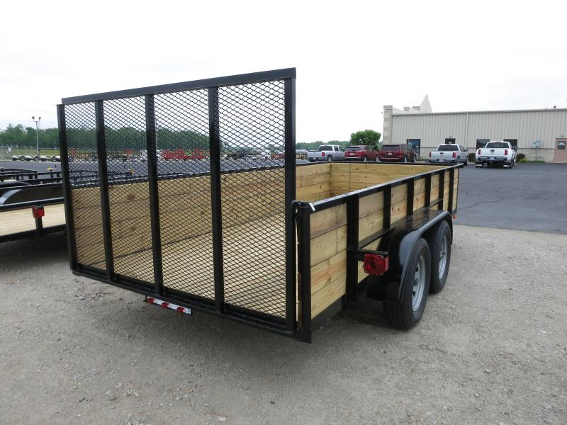 American Manufacturing 6x14 Utility Trailer w/ High Wood Sides & Gate