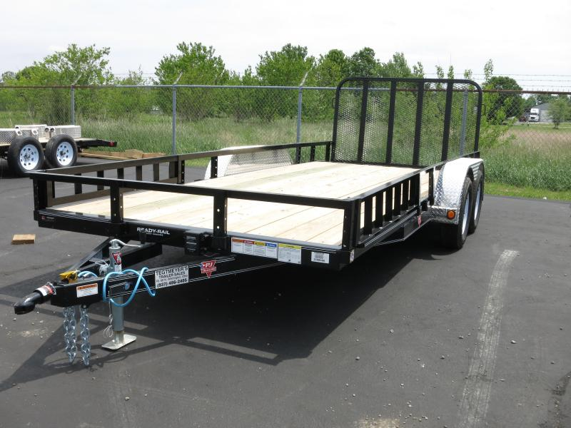PJ Trailers 7' x18' Utility Trailer w/ Gate -Side ATV Ramps