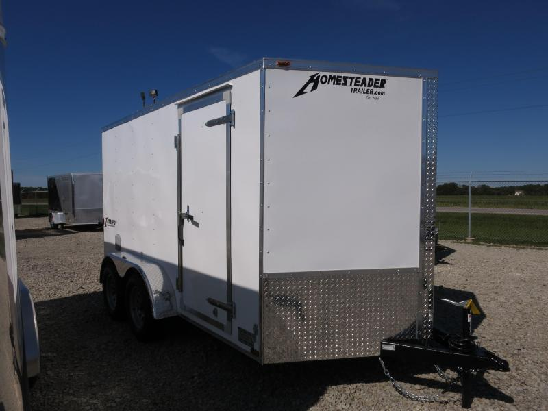 Homesteader 7x12 Enclosed Trailer w/ Ramp Door - Side Wall Vents - D Rings - Side Door