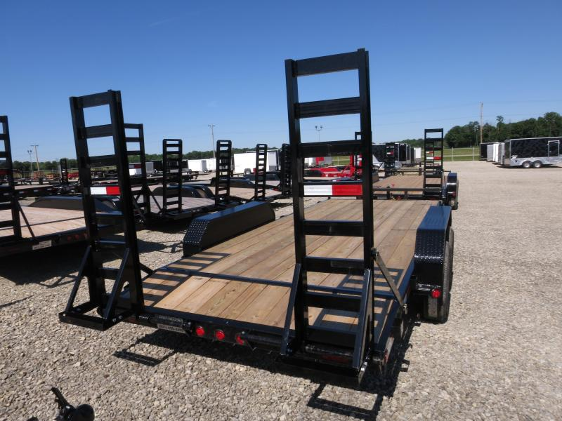 PJ Trailers 18' Flatbed with stand up ramps