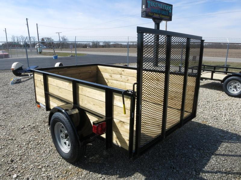 American Manufacturing 5x8 Utility Trailer w/ wood sides gate
