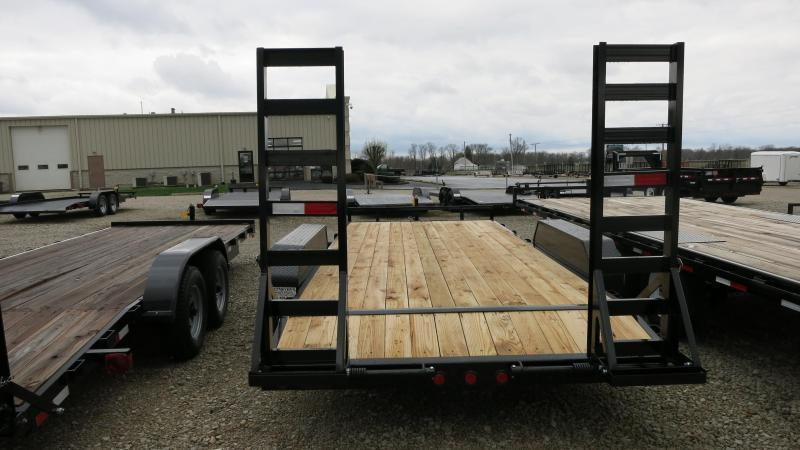 PJ Trailers 16' Flatbed with stand up ramps