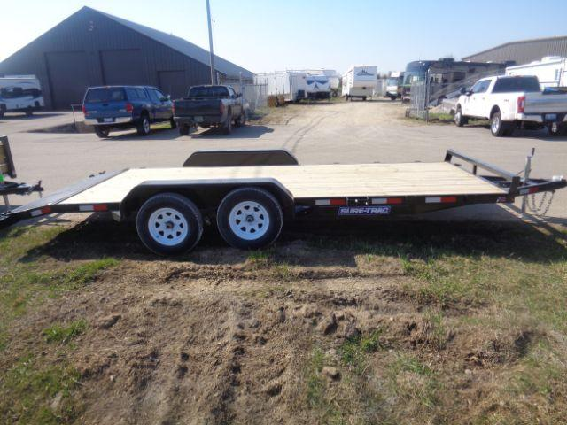 2018 Sure-Trac 7X18 WOOD DECK CAR HAULER 7K  in Evansville, WI