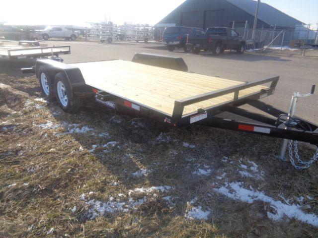 2018 Sure-Trac 7X16 Wood Deck Car Hauler 7K Tandem Axle in Wilton, WI