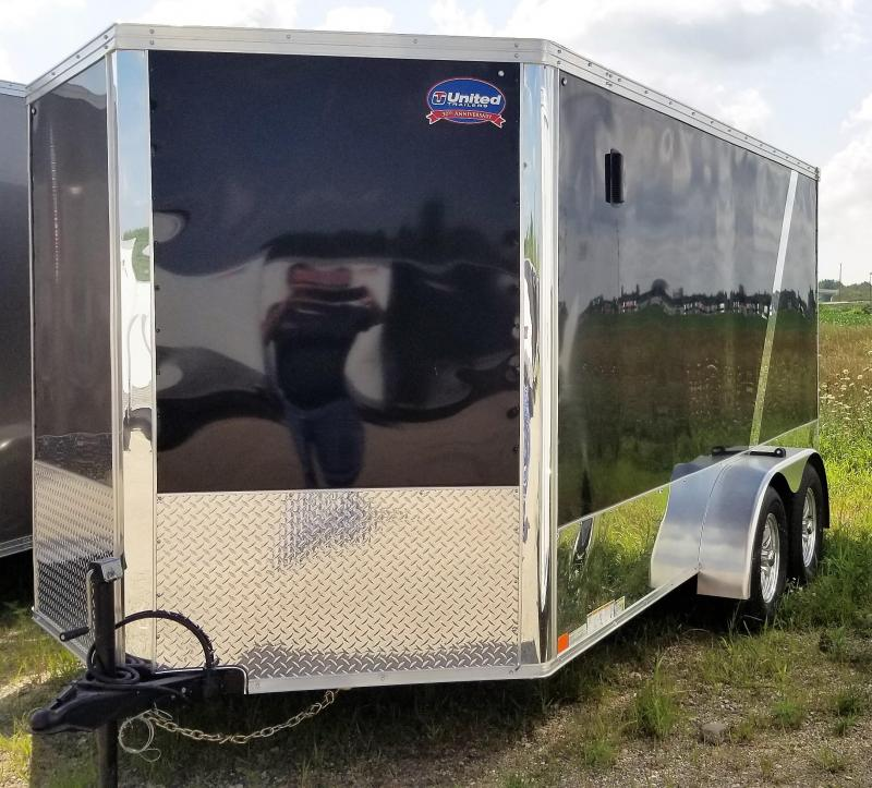 2019 United Trailers XLMTV-712TA35-8.5-S V-Nose/Motorcycle/Ramp Door Enclosed Cargo Trailer
