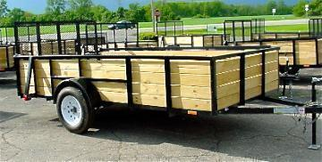 5 x 10 Wood Side Landscape Trailer 4 Board High  With Ramp Gate