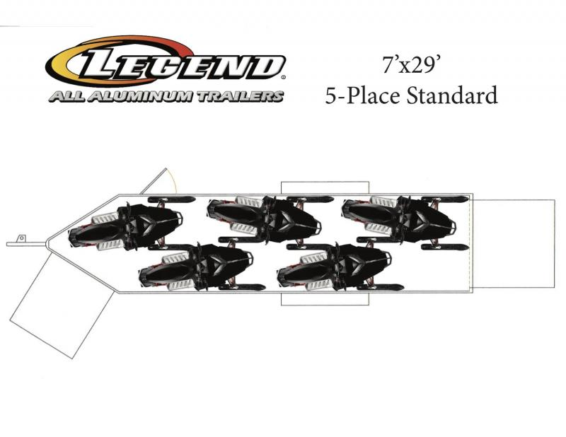 2019 legend manufacturing 7x29 inline snowmobile trailer