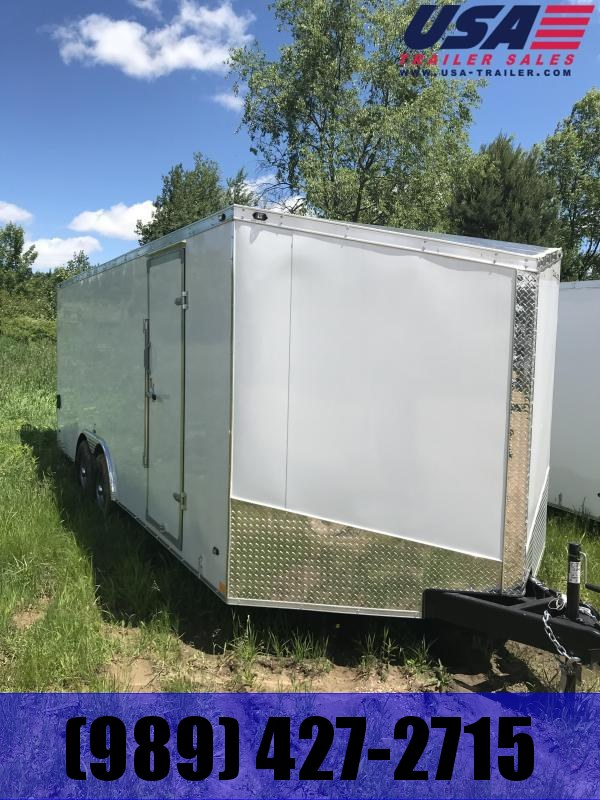 2018 Qualitec 7x14 white Double Doors Enclosed Cargo Trailer