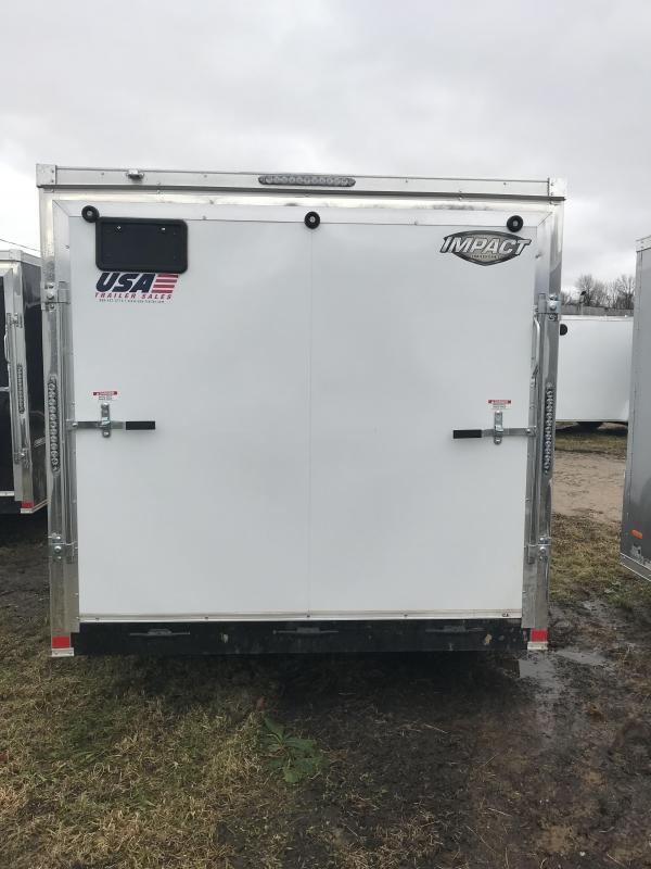 2019 Impact Trailers 7x14 White Ramp Door Enclosed Cargo Trailer