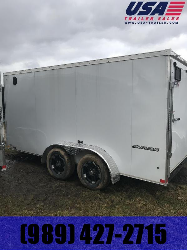 2019 Impact Trailers 7x14 White Ramp Door Enclosed Cargo Trailer