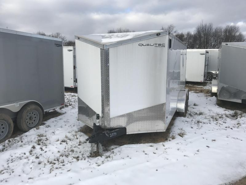 2018 Qualitec 7x16 White Ramp Enclosed Cargo Trailer