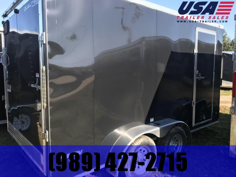 2018 Qualitec 7x14 black rear double doors Enclosed Cargo Trailer