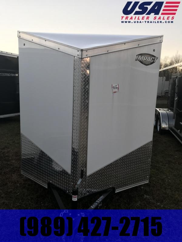 2019 Impact Trailers 7x14 White with Ranp Enclosed Cargo Trailer