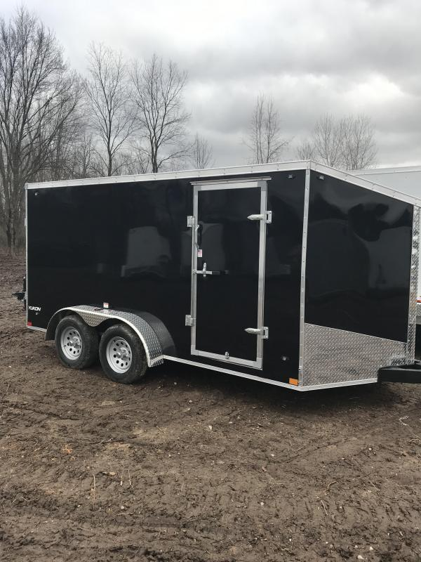 2019 Qualitec 7x16 Black Barn Doors Cargo Trailer