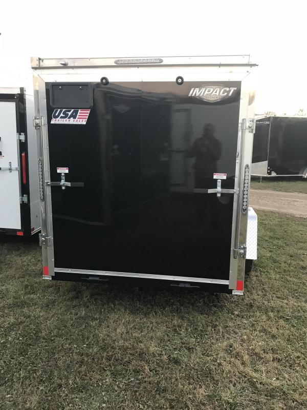 2019 Impact Trailers 7x16 Black Ramp Enclosed Cargo Trailer