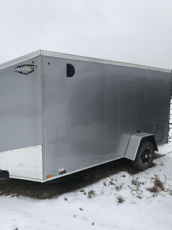 2019 Impact Trailers 6x12 Silver Ramp Enclosed Cargo Trailer