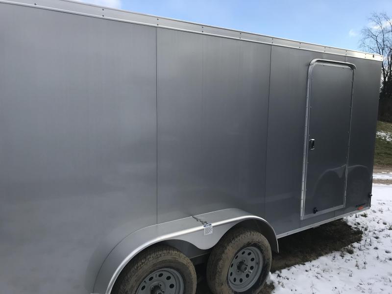 2018 Qualitec 7x16 Silver Barn Door Enclosed Cargo Trailer