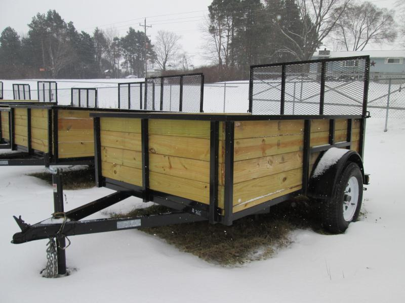 2018 GoldStar 5x8  Wood sided Landscape Tube Steel Utility Trailer