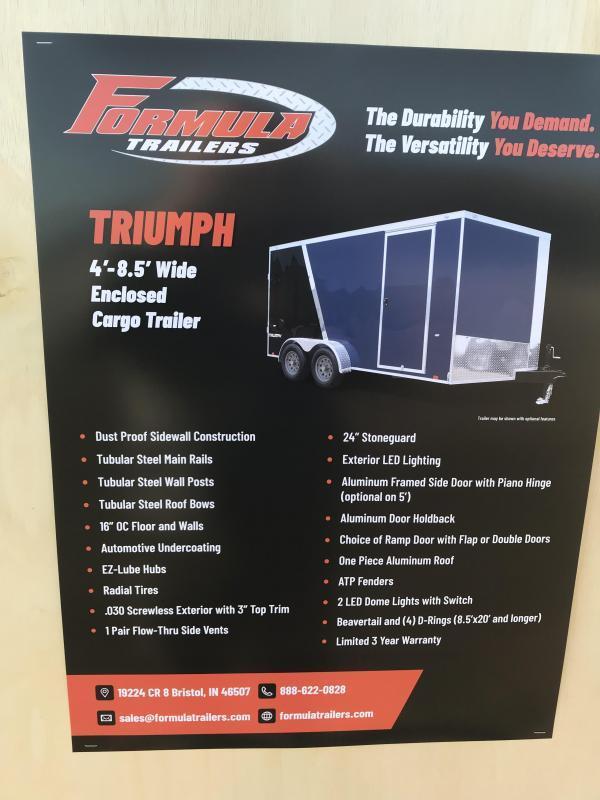 2020 Formula Trailers 7x14 Black ramp Enclosed Cargo Trailer